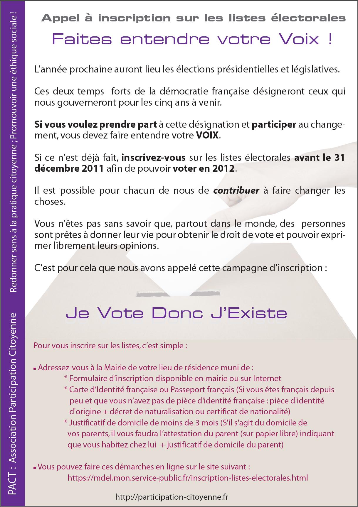 Participation Citoyenne : Appel à inscription sur les listes électorales