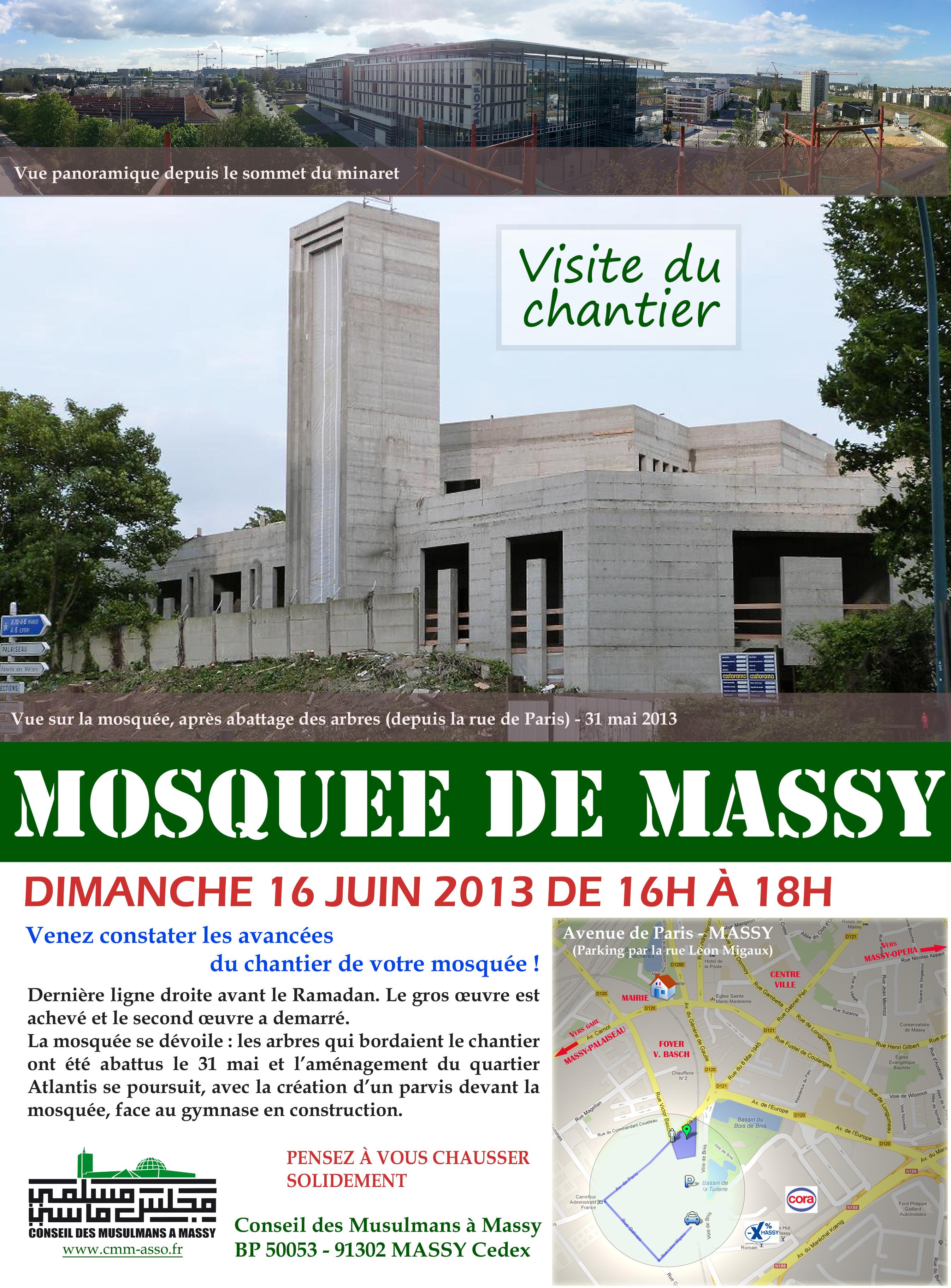 Affiche visite du chantier de la mosquée de Massy - Dim. 16/06/2013