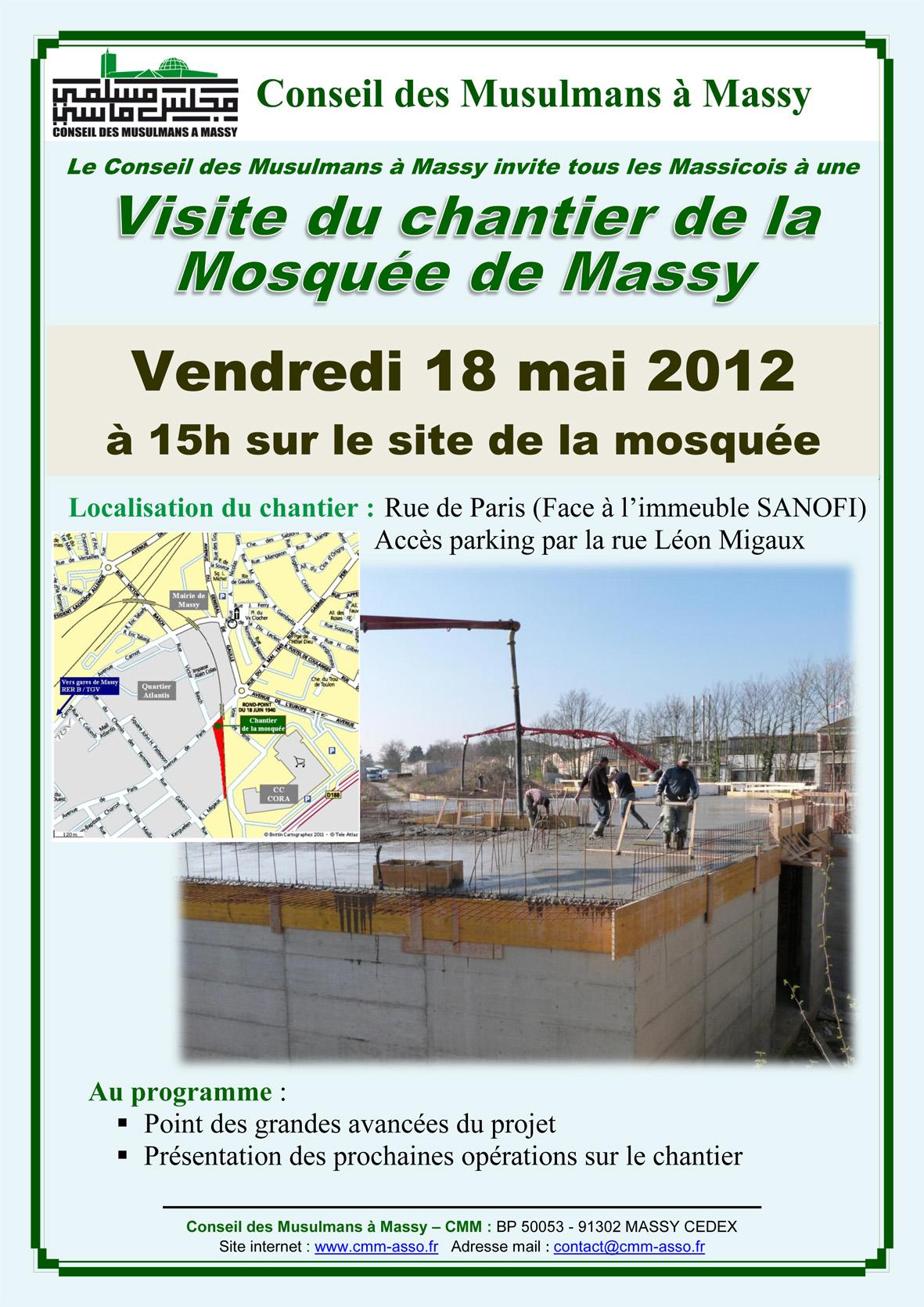Affiche visite du chantier du vendredi 18 mai 2012