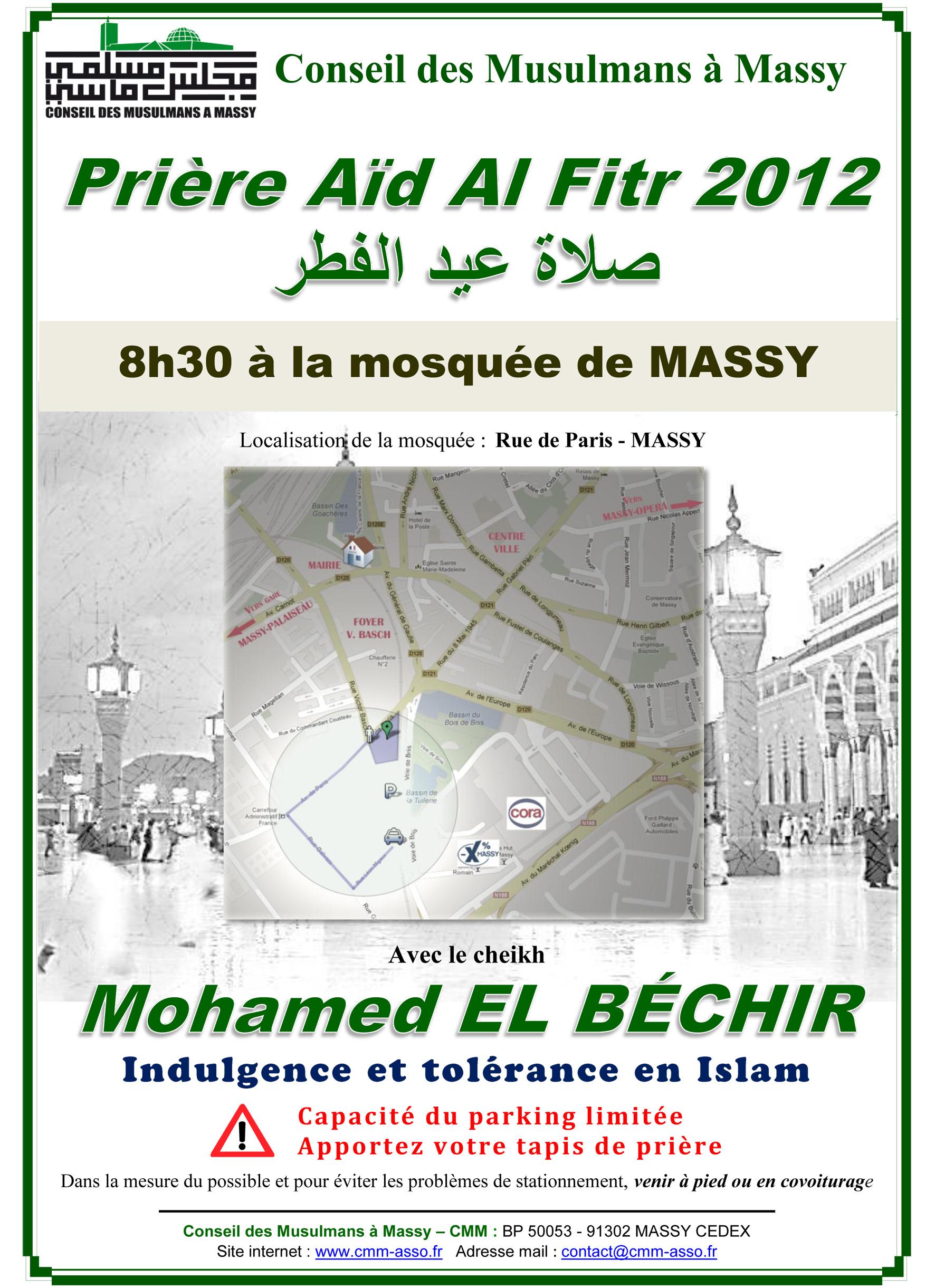 Affiche prière de l'Aïd Al Fitr 2012