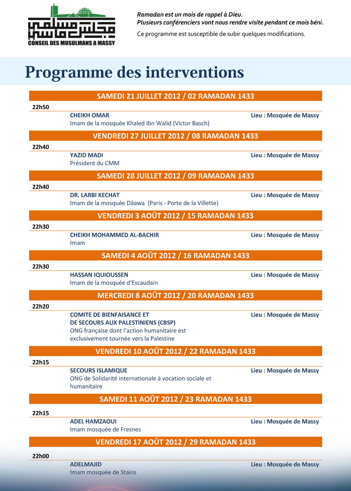 Planning des interventions pendant le ramadan