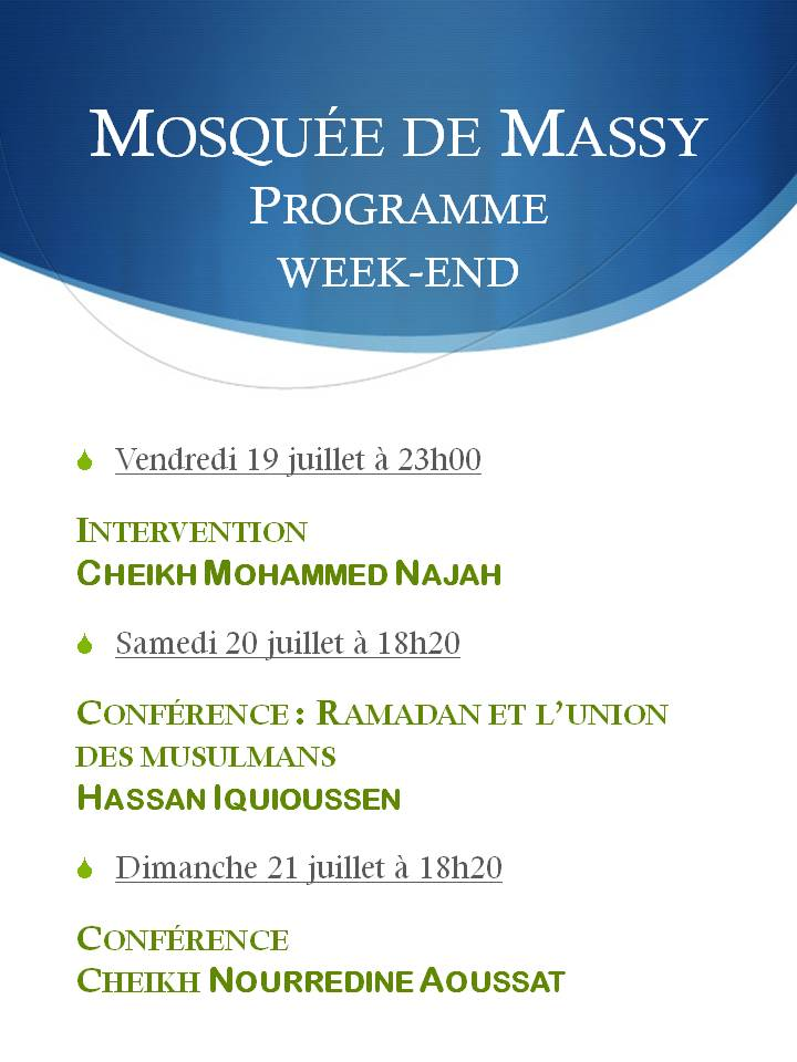 Programme des interventions - week-end du 19 juillet 2013