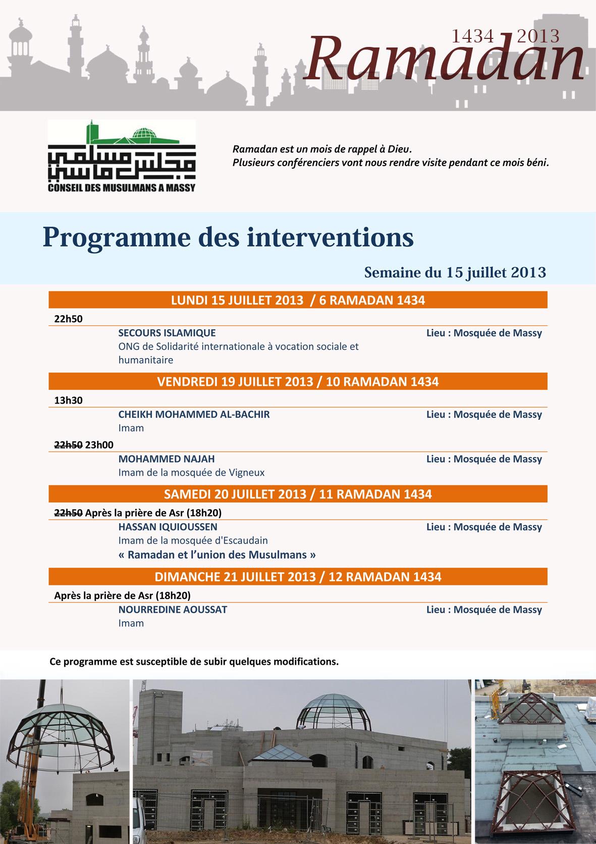 Programme des interventions - Semaine du 15 juillet 2013