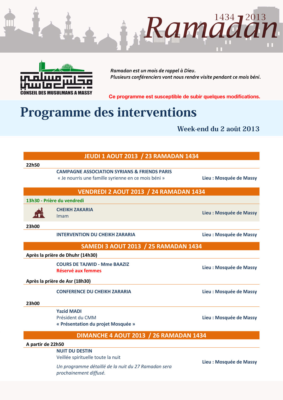 Programme des interventions - week-end du 2 août 2013