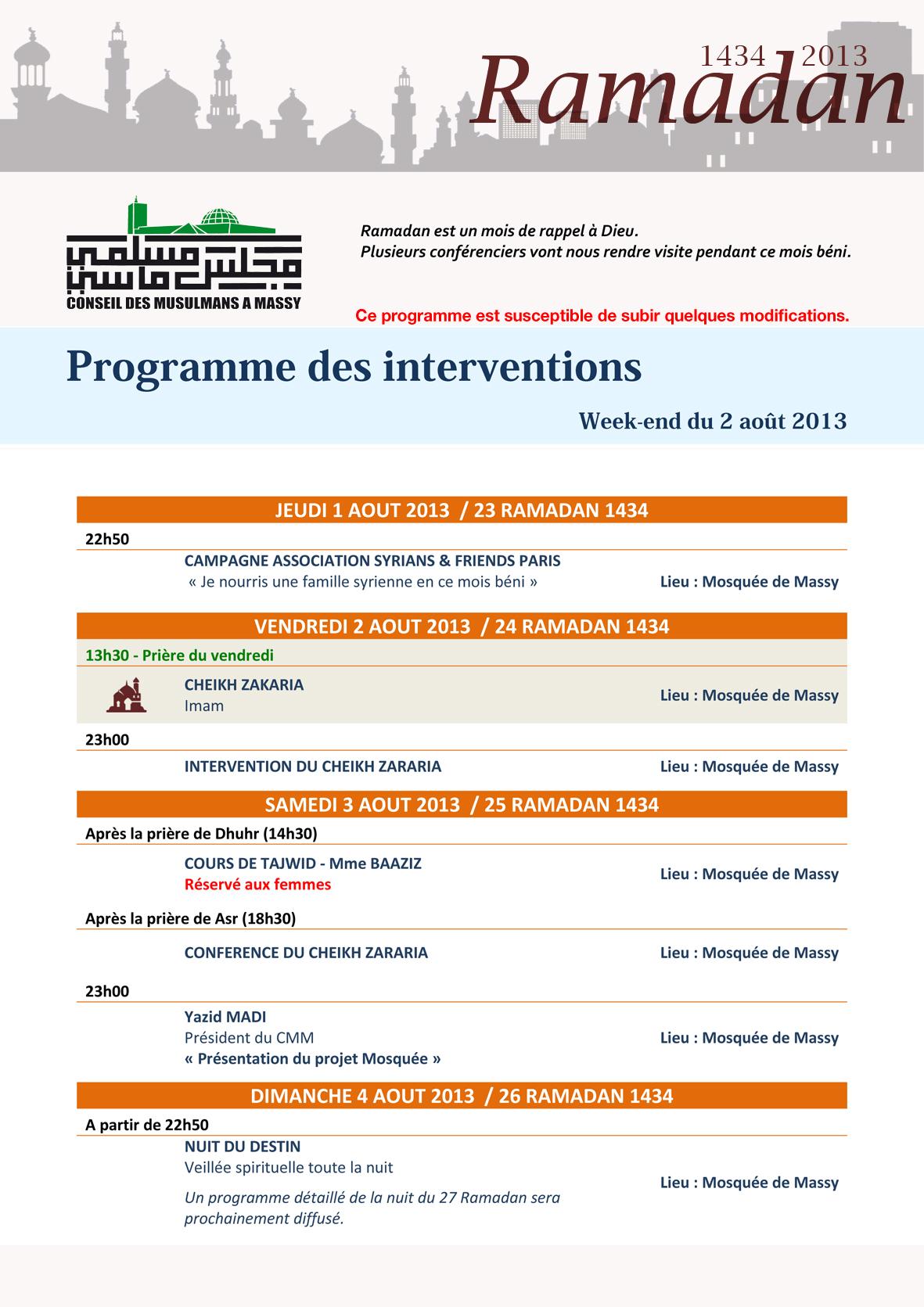 Programme des interventions - week-end du 2 août 2013