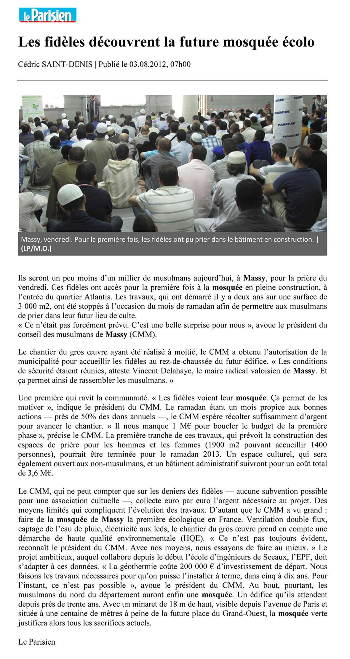 Les fidèles découvrent la future mosquée écolo - Le Parisien 03/08/2012