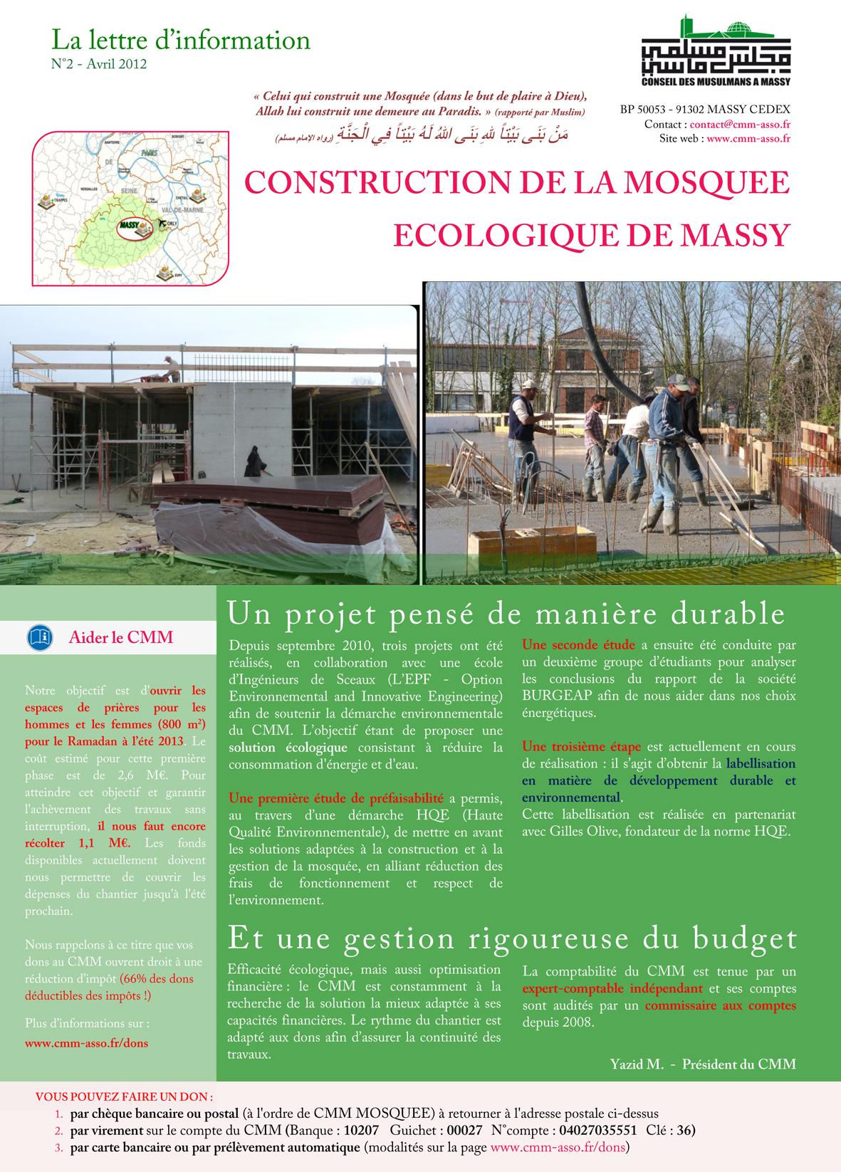 Lettre d'information n°2 sur la construction de la mosquée - page 1