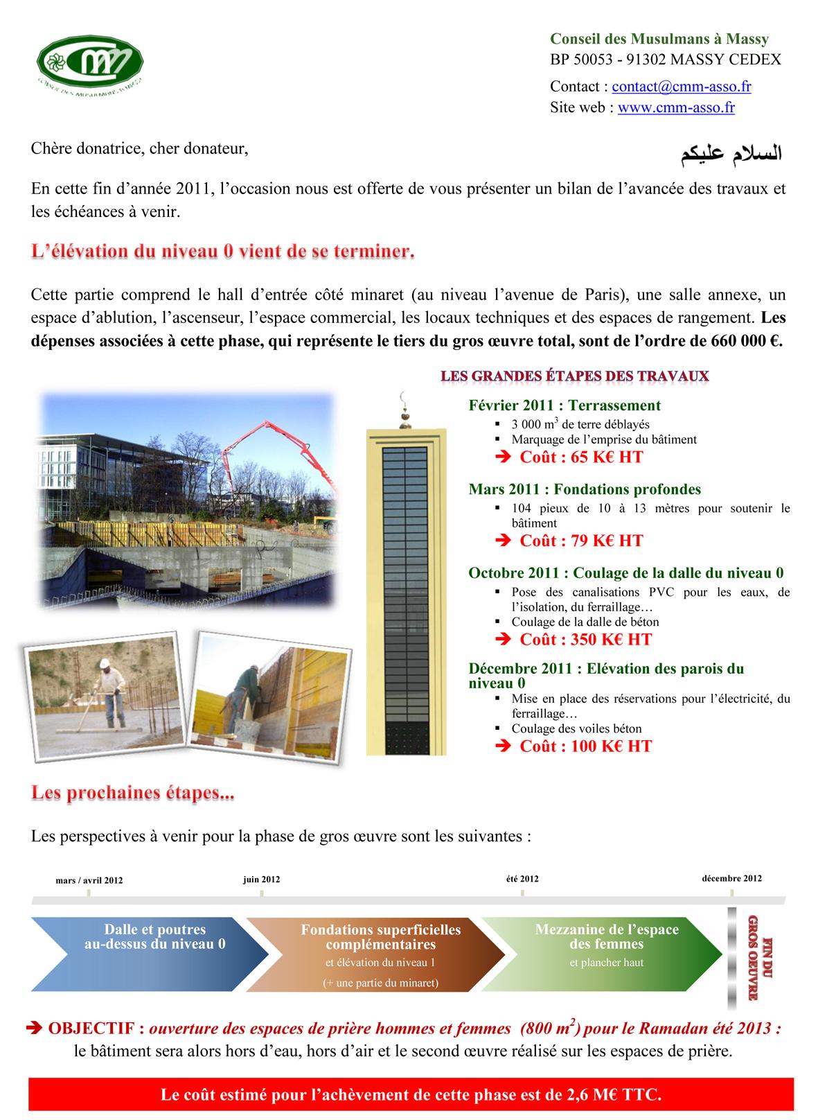 Lettre d'informations sur la construction de la mosquée - page 1