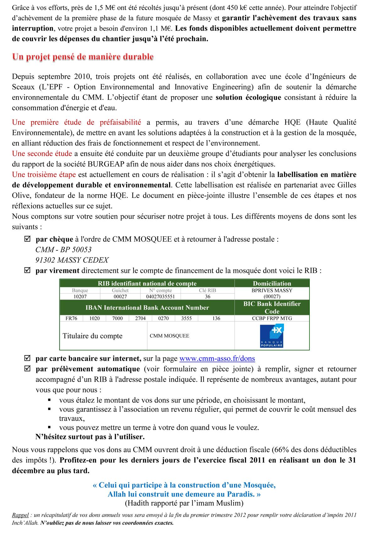 Lettre d'informations sur la construction de la mosquée - page 2