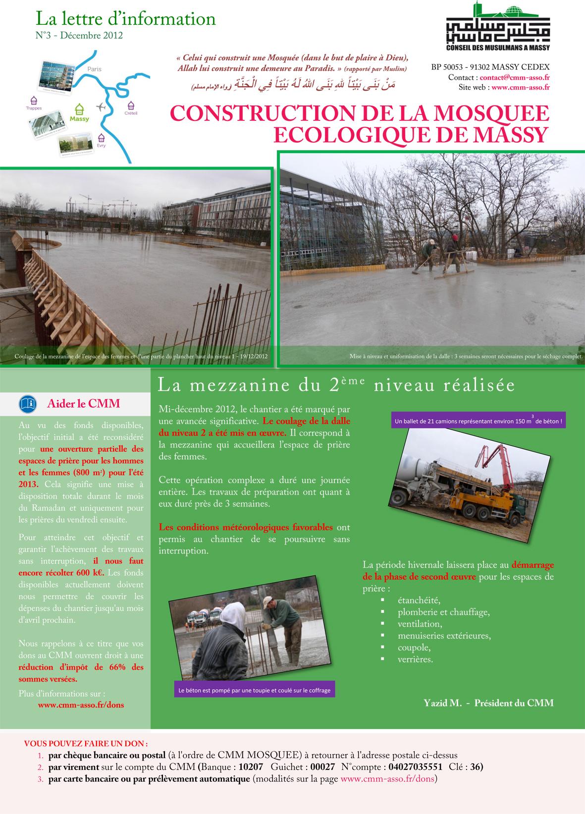 Lettre d'information n°3 sur la construction de la mosquée - page 1